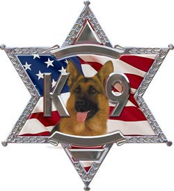 K9 6 Point Star Police Dog Decal With Shepherd