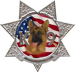 K9 7 Point Star Police Dog Decal with Shepherd