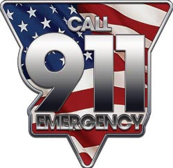 Call 911 Emergency Decal with Flag