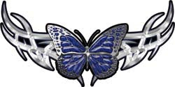 Tribal Butterfly Lady Biker Graphic in Blue