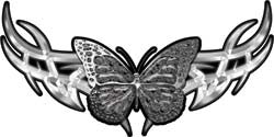 Tribal Butterfly Lady Biker Graphic in Gray