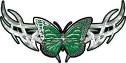 Tribal Butterfly Lady Biker Graphic in Green