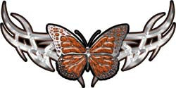 Tribal Butterfly Lady Biker Graphic in Orange