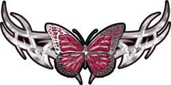 Tribal Butterfly Lady Biker Graphic in Pink