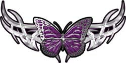 Tribal Butterfly Lady Biker Graphic in Purple