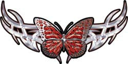 Tribal Butterfly Lady Biker Graphic in Red