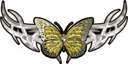 Tribal Butterfly Lady Biker Graphic in Yellow