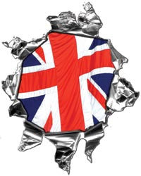 Mini Ripped Torn Metal Decal with British Flag