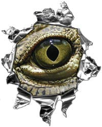 Mini Ripped Torn Metal Decal with Evil Gator Eyeball