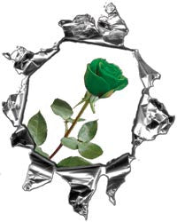Mini Ripped Torn Metal Decal with Green Rose