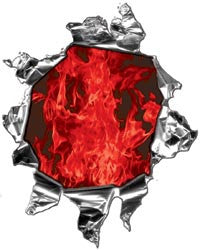 Mini Ripped Torn Metal Decal with Inferno Red Flames
