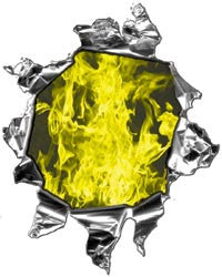 Mini Ripped Torn Metal Decal with Inferno Yellow Flames