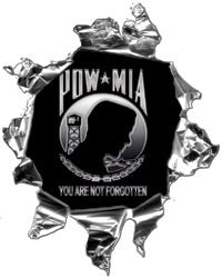Mini Ripped Torn Metal Decal with POW MIA You are not forgotten Graphic