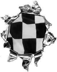 Mini Ripped Torn Metal Decal with Racing Checkered Flag