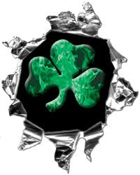 Mini Ripped Torn Metal Decal with Green Shamrock