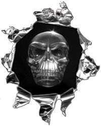 Mini Ripped Torn Metal Decal with Gray Evil Skull