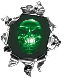 Mini Ripped Torn Metal Decal with Green Evil Skull