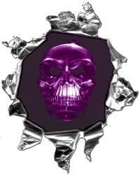 Mini Ripped Torn Metal Decal with Purple Evil Skull