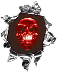 Mini Ripped Torn Metal Decal with Red Evil Skull