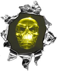 Mini Ripped Torn Metal Decal with Yellow Evil Skull
