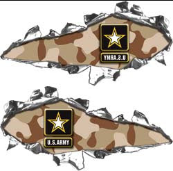 Ripped / Torn Metal Look Decals US Army Desert Camo