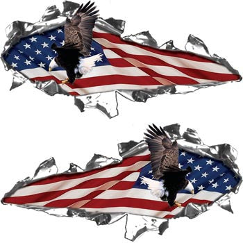 Ripped / Torn Metal Look Decals American Flag with Flying Eagle