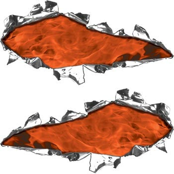 Ripped / Torn Metal Look Decals Inferno Orange