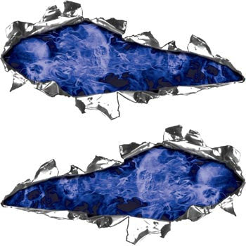 Ripped / Torn Metal Look Decals Inferno Skull Blue