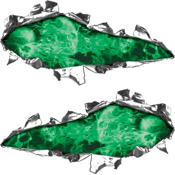 Ripped / Torn Metal Look Decals Inferno Skull Green