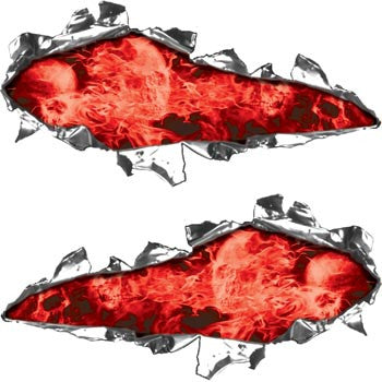 Ripped / Torn Metal Look Decals Inferno Skull Red