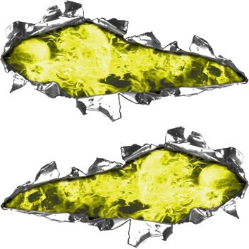 Ripped / Torn Metal Look Decals Inferno Skull Yellow