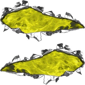 Ripped / Torn Metal Look Decals Inferno Yellow