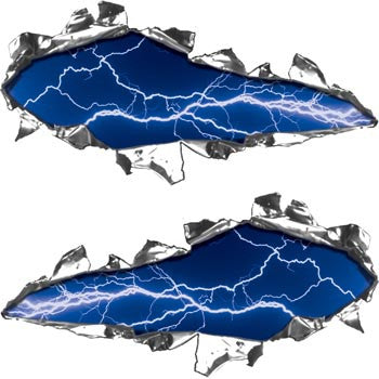 Ripped / Torn Metal Look Decals Lightning Blue