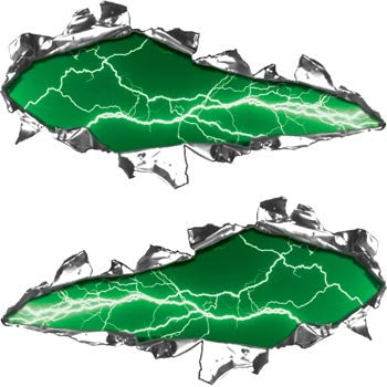 Ripped / Torn Metal Look Decals Lightning Green