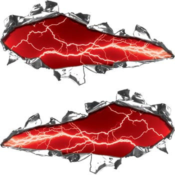 Ripped / Torn Metal Look Decals Lightning Red