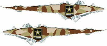 Ripped / Torn Metal Look Decals U. S. Army Desert Camo