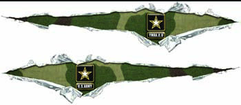 Ripped / Torn Metal Look Decals U. S. Army Green Camo