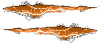 Ripped / Torn Metal Look Decals Lightning Orange