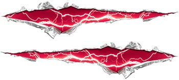 Ripped / Torn Metal Look Decals Lightning Pink