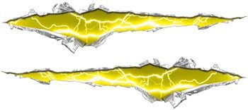 Ripped / Torn Metal Look Decals Lightning Yellow