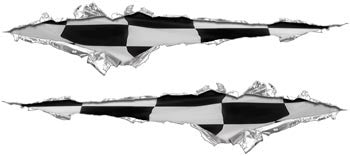 Ripped / Torn Metal Look Decals Racing Checkered Flag