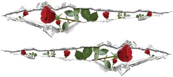 Ripped / Torn Metal Look Decals Roses