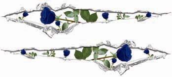 Ripped / Torn Metal Look Decals with Blue Roses