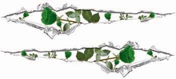 Ripped / Torn Metal Look Decals with Green Roses