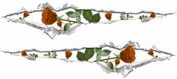 Ripped / Torn Metal Look Decals with Orange Roses