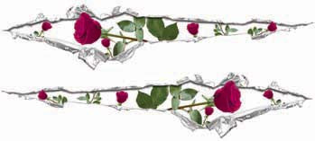 Ripped / Torn Metal Look Decals with Pink Roses