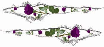 Ripped / Torn Metal Look Decals with Purple Roses