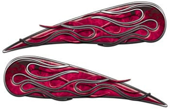 Inferno Pink Motorcycle Gas Tank Flame Decals