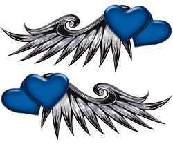 Double Heart Wing Graphics in Blue
