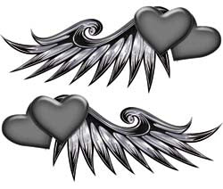 Double Heart Wing Graphics in Gray